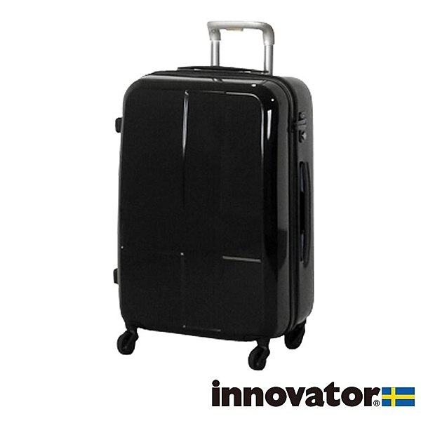 【日本innovator】日本設計 25吋 PC PLUS 拉鍊拉桿 360度超靜音輪 黑無 輕量 行李箱/旅行箱