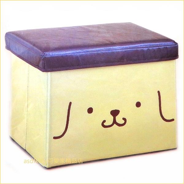 asdfkitty可愛家☆布丁狗大臉可摺疊收納椅/儲物椅/收納箱-日本正版商品