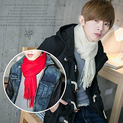 【N8384J】冬季嚴選必備單品隨身好攜帶小版素面保暖流蘇圍巾