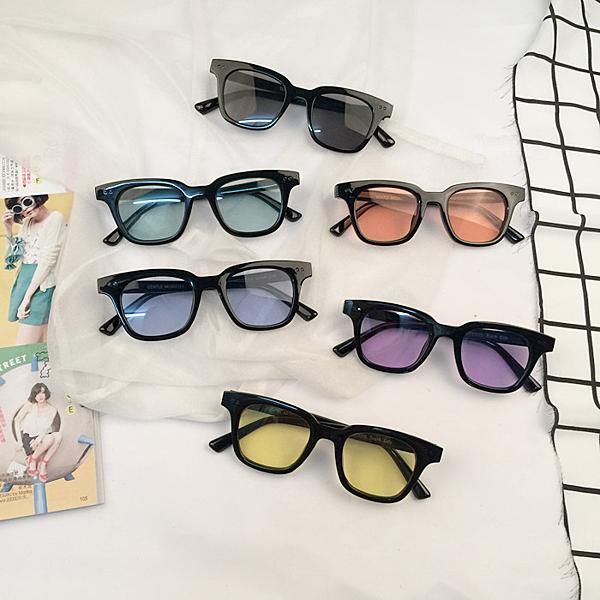 [超豐國際]彩色透明眼鏡方框墨鏡果凍色太陽鏡 男女潮復古1入