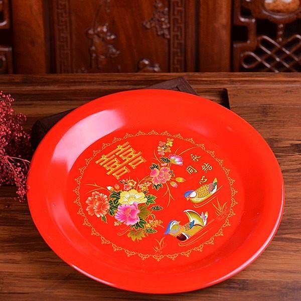 結婚喜慶用品茶盤大紅色敬茶托盤 新娘婚慶用品嫁妝鴛鴦果盤-小版
