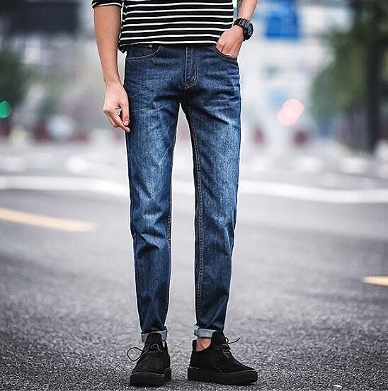 FINDSENSE MD 韓國 時尚潮 男 簡約 薄款 彈力 修身 休閒長褲 牛