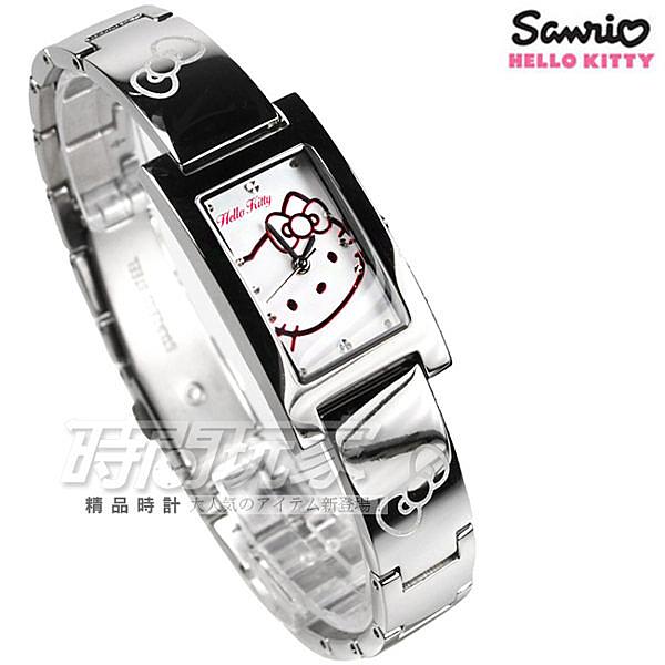 HELLO KITTY 大頭凱蒂貓 方型秀氣腕錶 不銹鋼帶 銀色 女錶 LK679LWWI