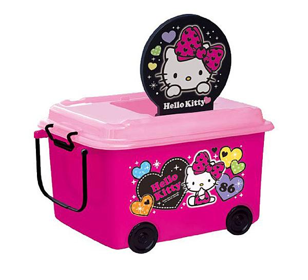 【瑕疵出清 無上蓋】日本 迪士尼 Disney 凱蒂貓 Hello Kitty堆疊式玩具收納車/收納箱