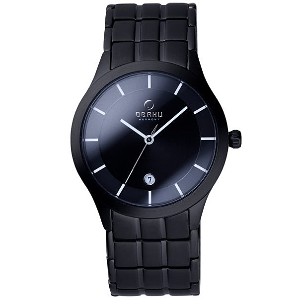 OBAKU 視覺層次時刻日期腕錶(黑)