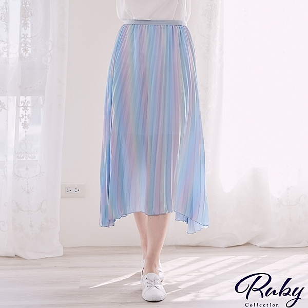 裙子 人魚公主螢光百褶鬆緊長裙-Ruby s 露比午茶