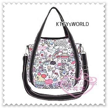 ♥小花花日本精品♥ Hello Kitty 2way帆布托特包粉色樂園滿版圖手提包側背包外出包 42157601