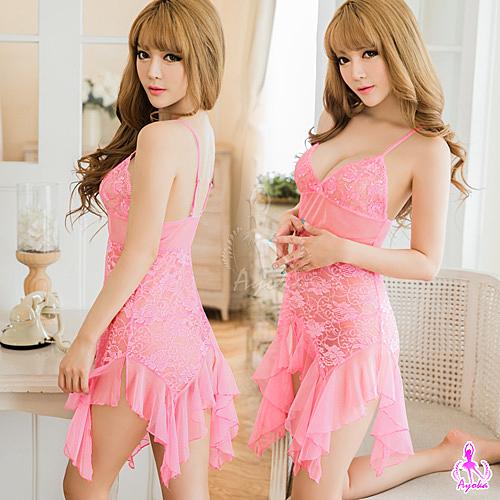 性感睡衣 粉紅美人魚蕾絲柔紗二件式睡衣 愛的蔓延 NA16020080