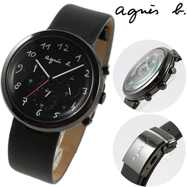 【萬年鐘錶】agnes b.法式簡約時尚風 三眼男腕錶 黑皮帶 黑殼 黑面 白字  40mm  VD53-KC30C(BT3028X1)