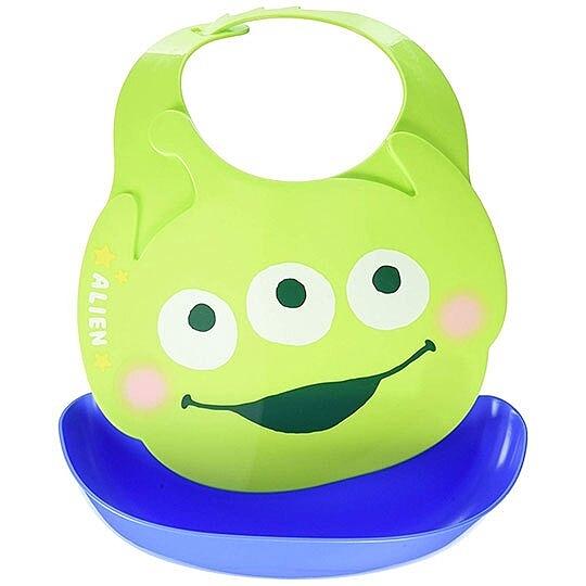 〔小禮堂〕迪士尼 三眼怪 日製造型防水圍兜《綠藍.大臉》吃飯圍兜.口水巾 4904121-31694