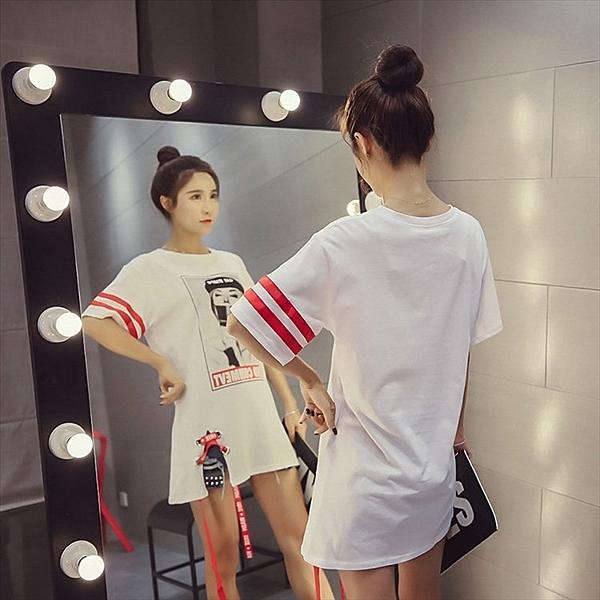 找到自己 G5 韓國時尚 學院風 字母 條紋 美女 中長款 大尺碼 寬鬆 T恤