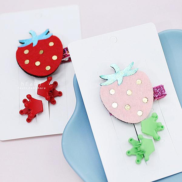 可愛草莓皇冠髮夾 三入組 兒童髮飾 髮夾