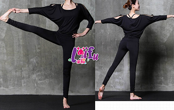 來福,B119瑜珈服外寬鬆蝙蝠袖運動衣三件式路跑健身服路跑九分褲,整套售價1300元