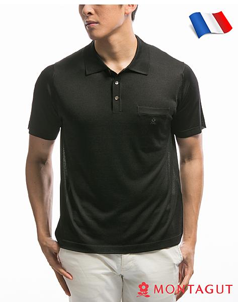 男款短袖POLO衫 夢特嬌法國製造亮絲系列 經典素色口袋款-黑色