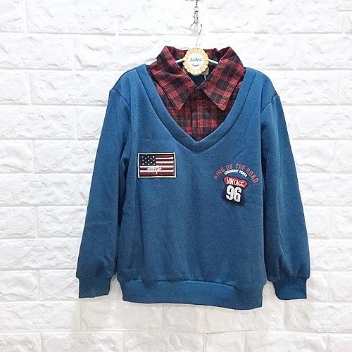 棒棒糖童裝(E88407)秋冬男大童氣質格子假2件內刷不倒絨長袖上衣 120-170