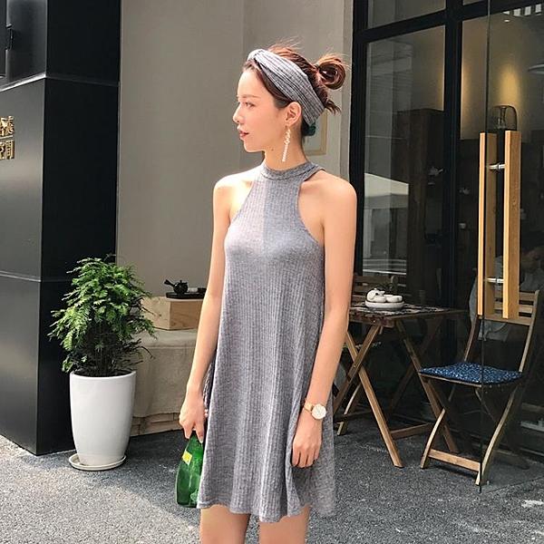 [超豐國際]復古港味chic風氣質顯瘦削肩掛脖連衣裙女夏寬松1入