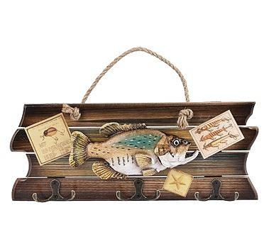 英國魚型衣帽掛鉤木質創意居家立體壁掛複古牆上裝飾禮品多功能鉤- ziji004