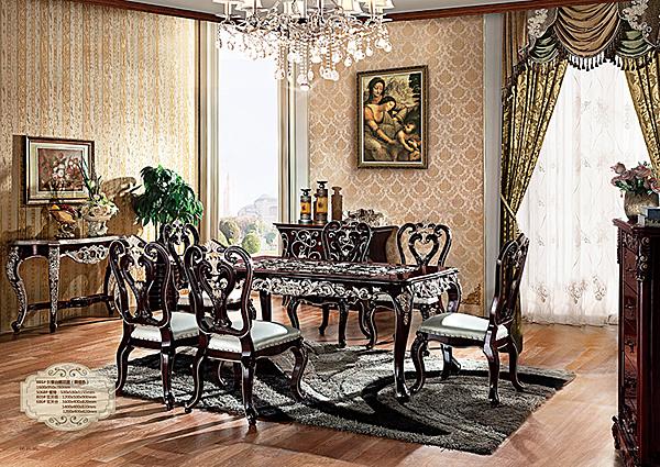 [紅蘋果傢俱 ] HT-801 新古典系列 餐桌 餐台 飯桌 餐桌椅 實木 實體賣場