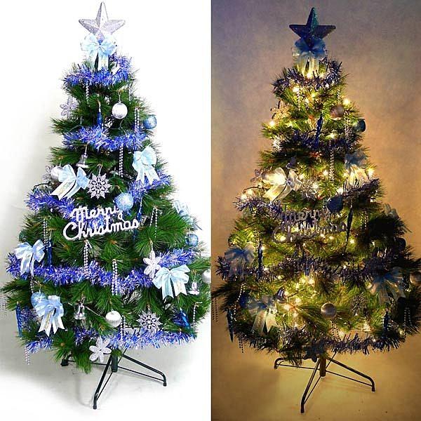 摩達客 台灣製12呎/12尺(360cm)特級綠松針葉聖誕樹 (+藍銀色系配件組+100燈鎢絲樹燈8串)