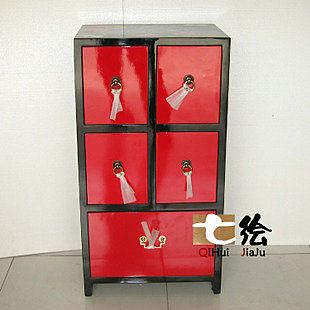 新中式彩繪漆器 五抽屜櫃