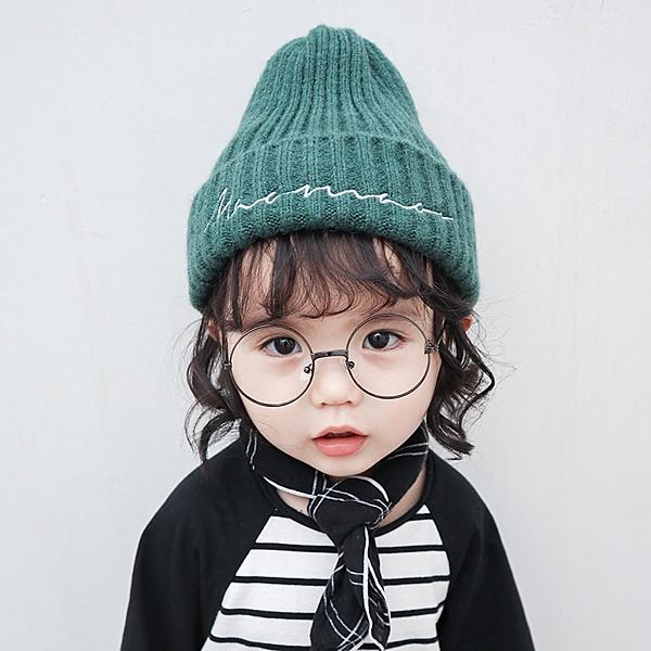寶寶兒童毛線帽子針織秋冬新款純色男童女童韓版小孩帽子保暖護耳