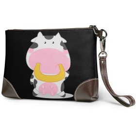 クラッチバッグ セカンドバッグ 小銭入れ ユニセックス 長財布 手持ちバッグ 牛革 レザー 高耐久ファスナー 軽量 防水かわいい乳牛ちゃん