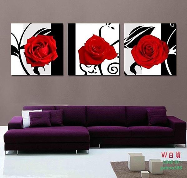 【優樂】無框畫裝飾畫客廳沙發背景裝飾客廳三聯壁畫掛畫玫瑰