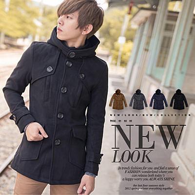 柒零年代【N8872J】專櫃質感厚毛呢大圓扣中長版大衣外套(HO-DJ909)