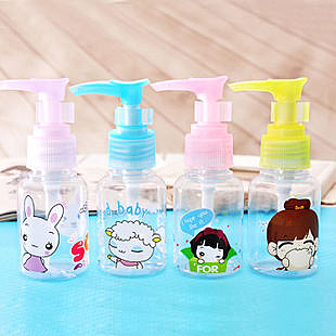 TwinS可愛卡通鴨嘴押頭式50ml美容透明隨身瓶【MM必備】花色隨機發貨