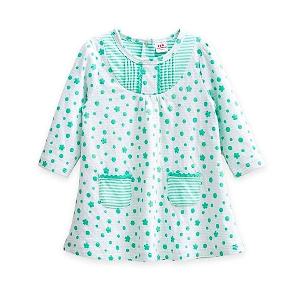 童裝 現貨 LBB 可愛點點口袋空氣棉小洋裝【67809-2】粉綠色)