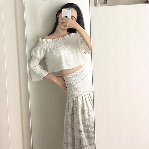 [超豐國際]chic風露肩一字領鏤空荷葉邊短款上衣女裝 夏季1入
