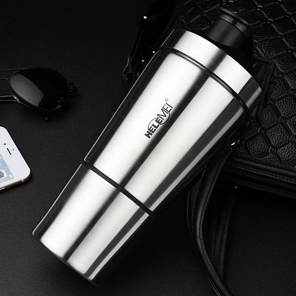 不鏽鋼健身保溫杯蛋白粉健身搖搖杯健身運動水杯子帶刻度大容量水壺推薦