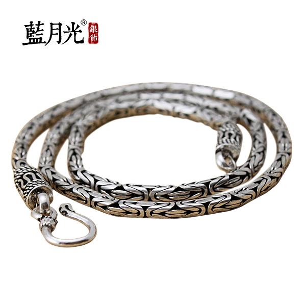 [超豐國際]s925銀飾品復古泰銀潮男龍骨裝飾項鏈男士個性霸