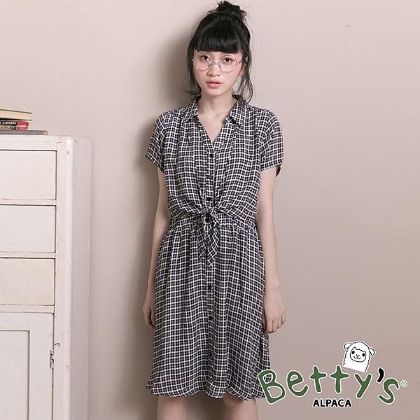 betty's貝蒂思 美式格紋腰間綁結雪紡洋裝(黑色)