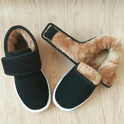 冬季黑色手工保暖棉鞋