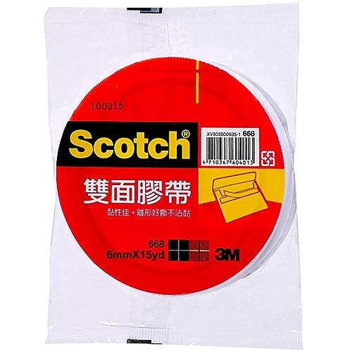3M Scotch 雙面膠帶 6mmX15yd 單入袋裝