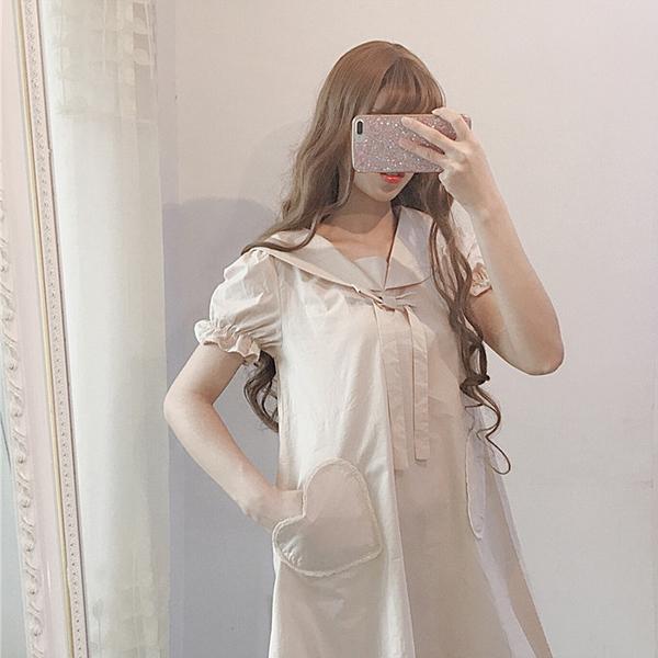 [超豐國際]夏季日系甜美系帶短袖連衣裙女寬松中長款娃娃A字裙1入
