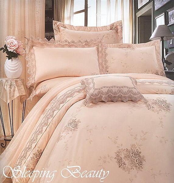 *睡美人寢具工坊*【蕾絲花園-橘】60支絲光棉.七件式雙人特大床罩組6*7 全程台灣印染精製
