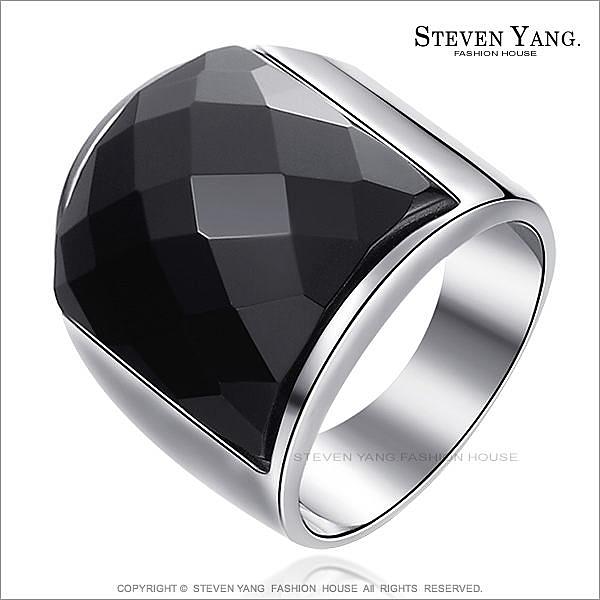 鋼戒指 西德鋼飾「街頭潮男」黑瑪瑙 送刻字 個性款