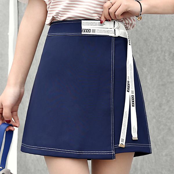 2020夏季新款學生絲帶黑藍內襯清新高腰短裙顯瘦A字裙女半身裙子