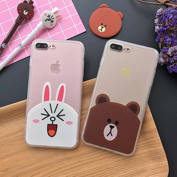 iPhone7 蠶絲紋彩殼 熊 兔子情侣i7 plus iPhone6S/ plus 手機套