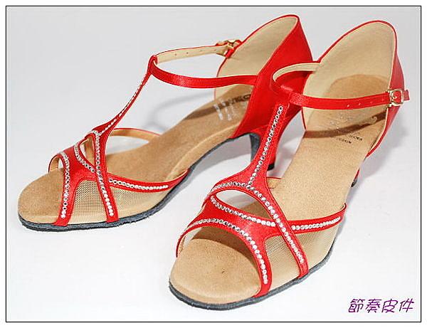 ~節奏皮件~☆國標舞鞋~~拉丁鞋款 編號 6251 緞面鑲鑽舞鞋(紅緞)