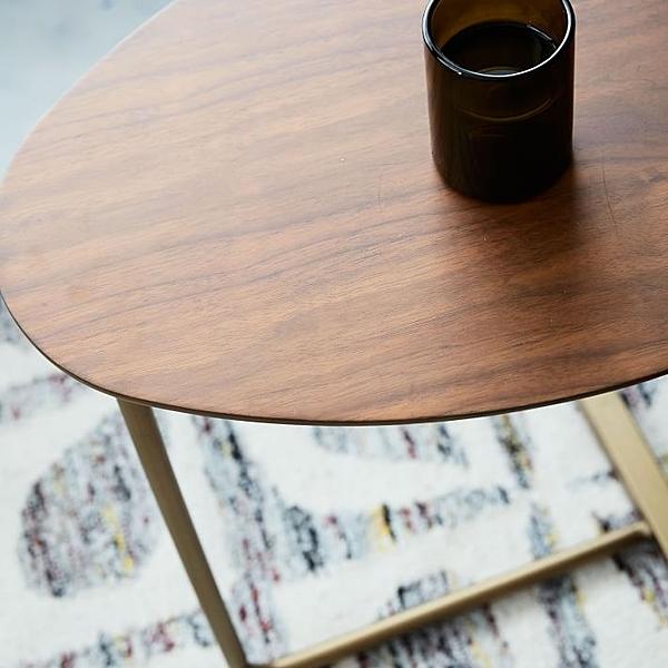 茶几邊桌 創意簡約橢圓形茶幾 移動實木鐵藝沙發角幾邊幾 懶人床頭閱讀桌 【八折搶購】