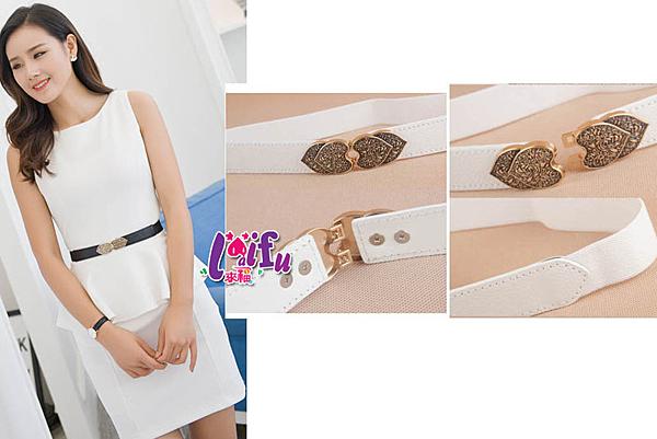 來福皮帶,H456腰帶金屬雕花桃心對扣彈力鬆緊細腰帶皮帶,售價138元