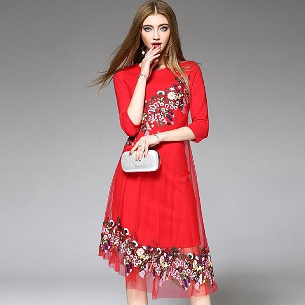 (現貨+預購 RN-girls)-精品極美不規則下擺網紗繡花七分袖洋裝小禮服 媽媽裝 伴娘服