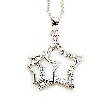 純銀大小星星項鍊