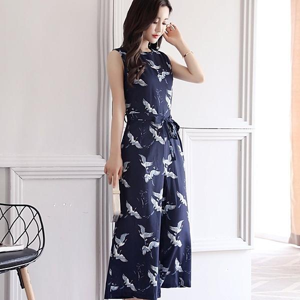 FINDSENSE G5 韓國時尚 夏季 寬鬆  高腰 碎花 闊腿褲 休閒套裝