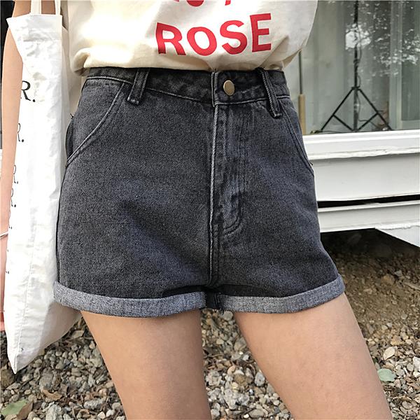 [超豐國際]夏裝復古顯瘦高腰卷邊牛仔褲女闊腿褲短褲女夏熱褲大1入