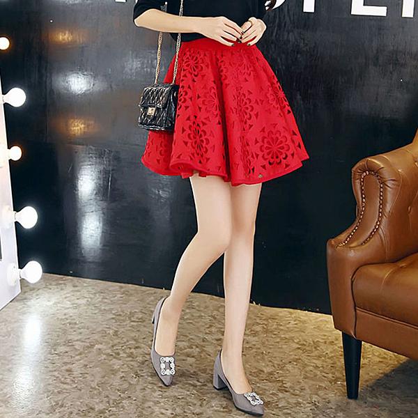 百搭鬆緊腰鏤空短裙  (黑  紅)二色售  (MNNO)