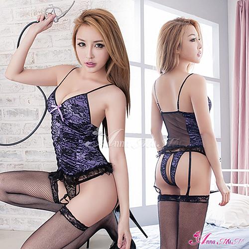 【性感寶盒】★吊襪帶 浪漫紫色蕾絲馬甲四件組★┌NA09030037-1